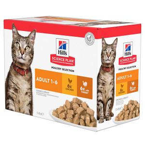 hill-s-adult-poultry-selection-combipack-kip-kalkoen-nat-kattenvoer