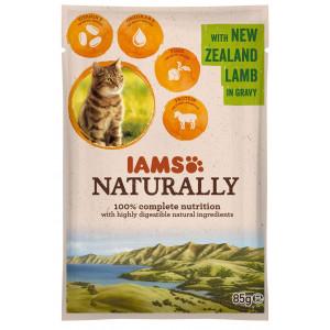iams-naturally-adult-lam-in-saus-85-gram-zakjes-kattenvoer